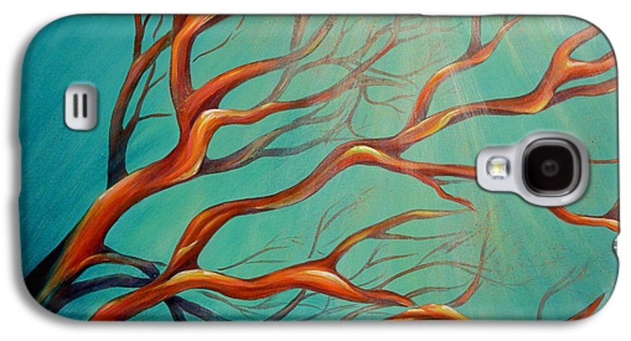Coral Sea Ocean Underwater Beach Aquatic Reef Diving Contemporary Close-up Aquatica Series Galaxy S4 Case featuring the painting Branching Out by Dina Dargo