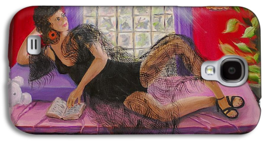 Woman Galaxy S4 Case featuring the painting Break Between Clients by Quwatha Valentine