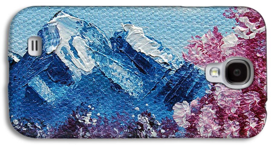 Wonderous Galaxy S4 Case featuring the painting Bright Blue Mountains by Jera Sky