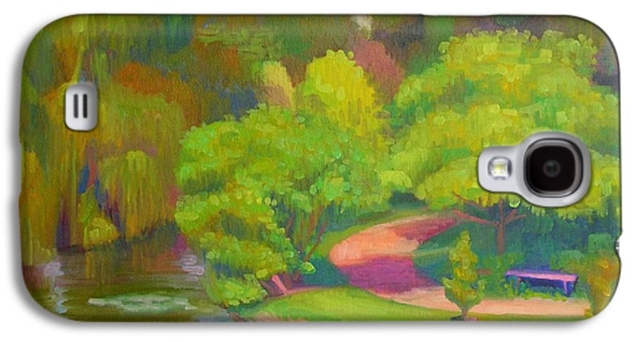 Landscape Galaxy S4 Case featuring the painting Bright Hazy Day Chicago Botanical Gardens by David Dozier