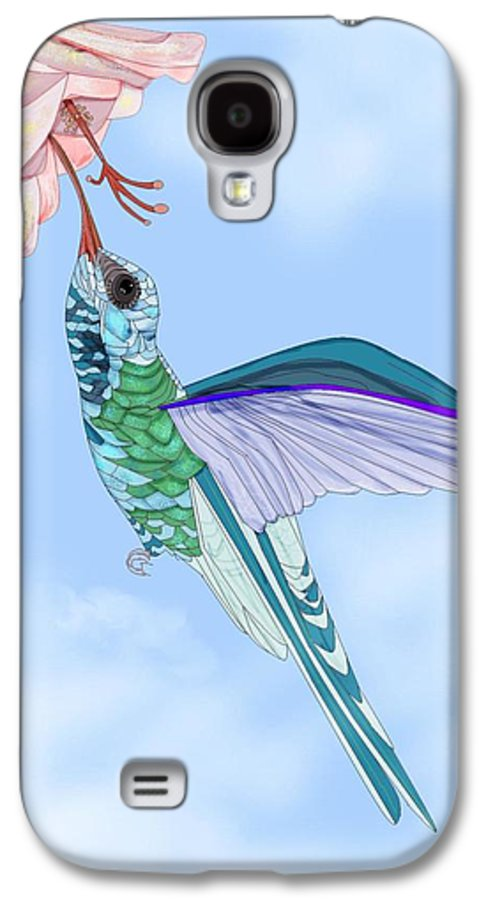 Hummingbird Galaxy S4 Case featuring the painting Broadbilled Hummer by Anne Norskog