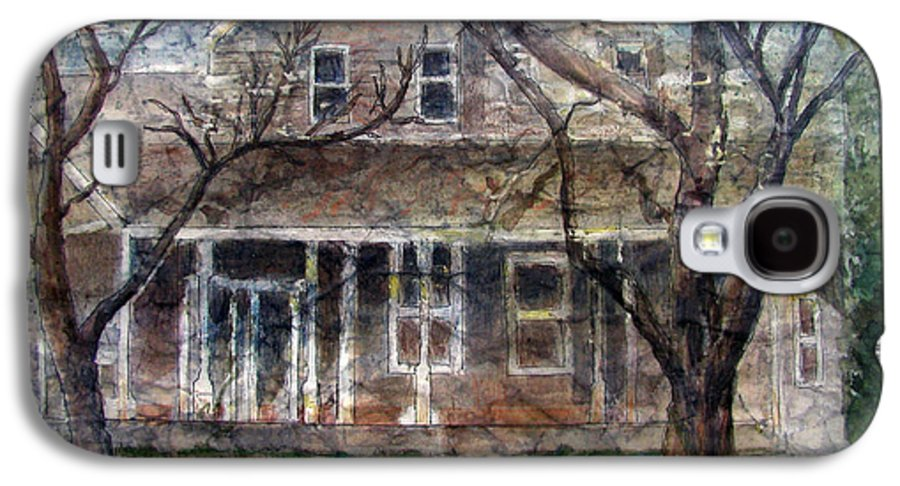 House Galaxy S4 Case featuring the mixed media Brown Batik House by Arline Wagner