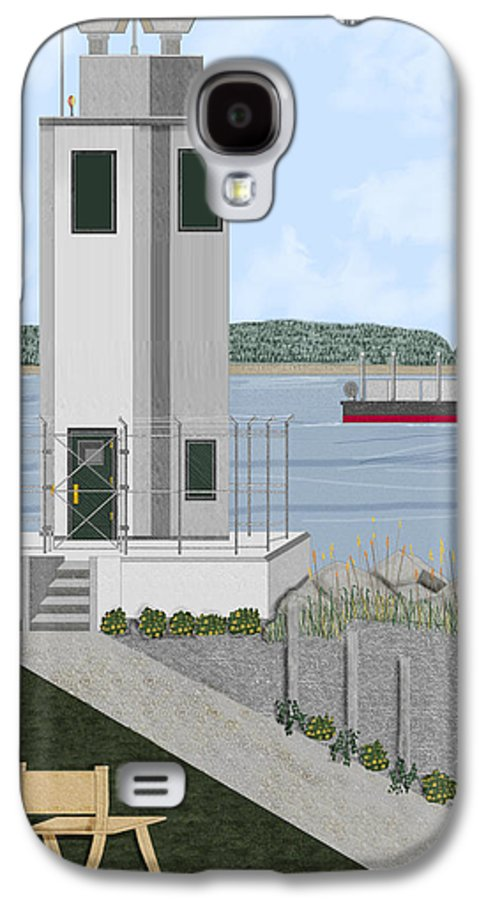 Lighthouse Galaxy S4 Case featuring the painting Browns Point Lighthouse On Commencement Bay by Anne Norskog