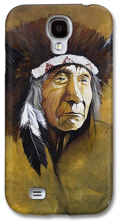 Shaman Galaxy S4 Case featuring the painting Buffalo Shaman by J W Baker