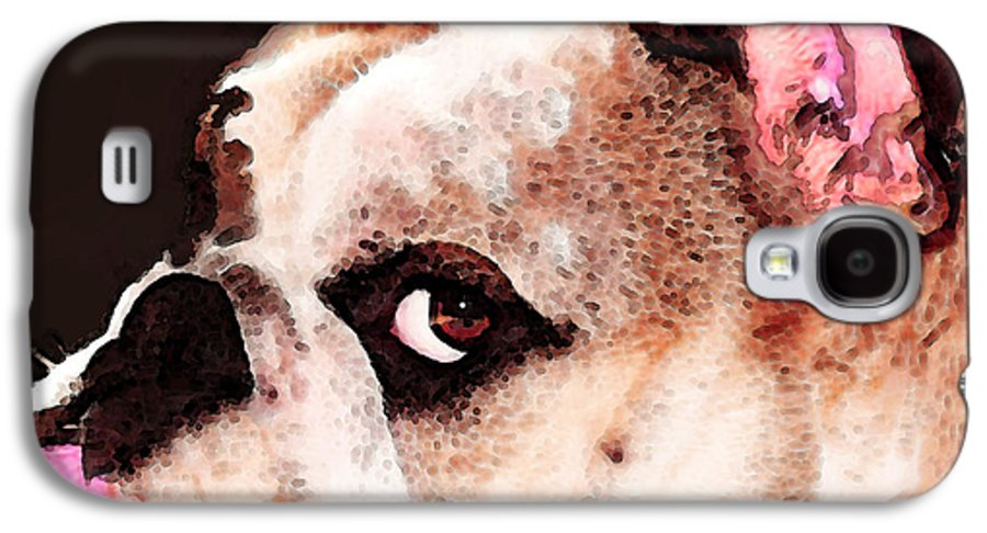 Dog Galaxy S4 Case featuring the painting Bulldog Art - Let's Play by Sharon Cummings