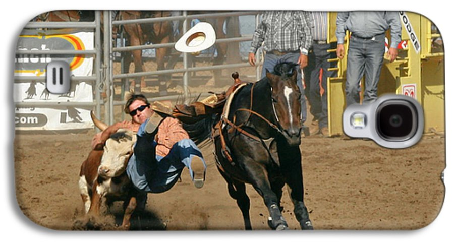 Cowboy Galaxy S4 Case featuring the photograph Bulldogging At The Rodeo by Christine Till