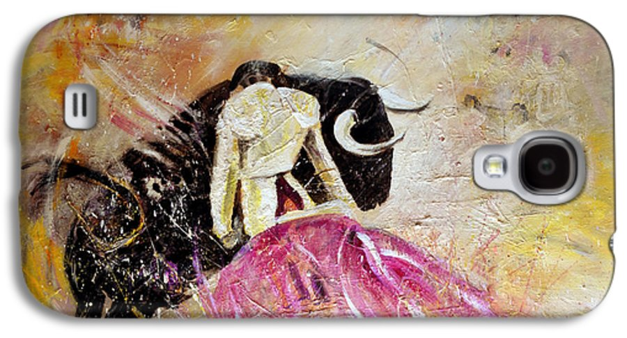 Animals Galaxy S4 Case featuring the painting Bullfight 74 by Miki De Goodaboom