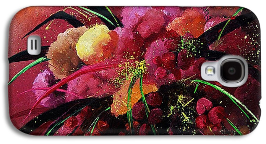 Flowers Galaxy S4 Case featuring the painting Bunch Of Red Flowers by Pol Ledent