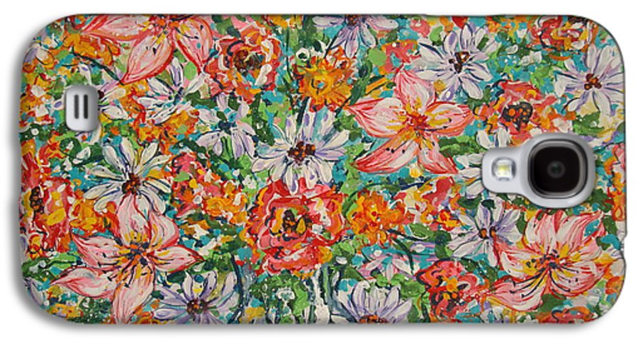 Flowers Galaxy S4 Case featuring the painting Burst Of Flowers by Leonard Holland