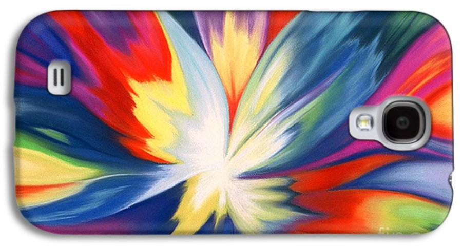 Abstract Galaxy S4 Case featuring the painting Burst Of Joy by Lucy Arnold