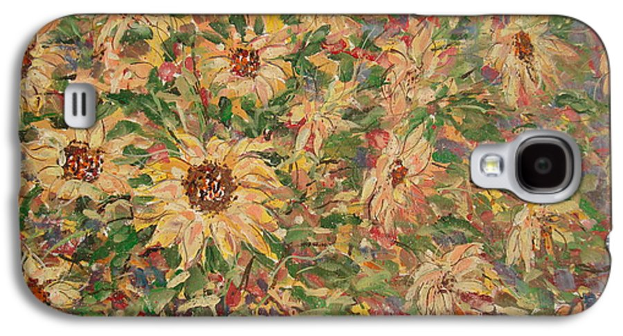 Flowers Galaxy S4 Case featuring the painting Burst Of Sunflowers. by Leonard Holland
