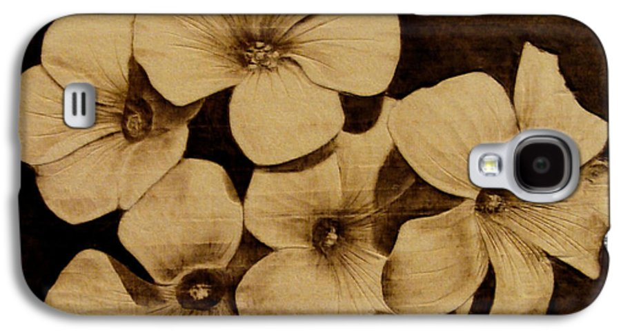 Pyrography; Sepia; Flower; Petals; Boquet; Pansy; Violet; Galaxy S4 Case featuring the pyrography Bursting by Jo Schwartz