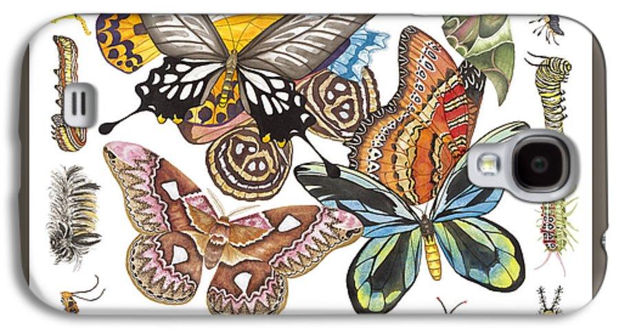 Butterflies Galaxy S4 Case featuring the painting Butterflies Moths Caterpillars by Lucy Arnold