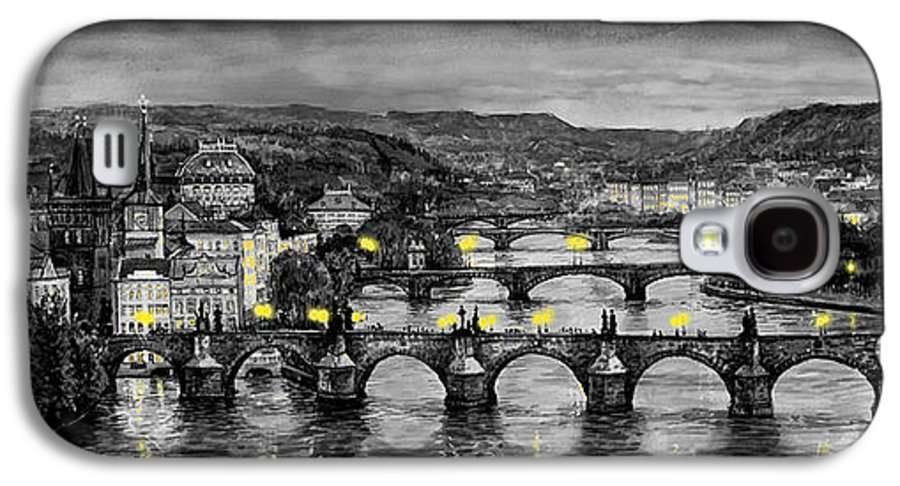 Prague Galaxy S4 Case featuring the painting Bw Prague Bridges by Yuriy Shevchuk