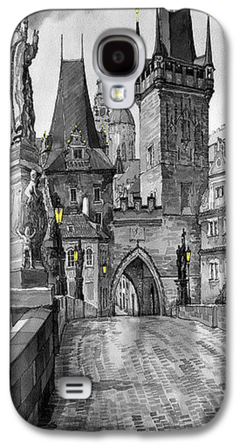 Prague Galaxy S4 Case featuring the painting Bw Prague Charles Bridge 02 by Yuriy Shevchuk