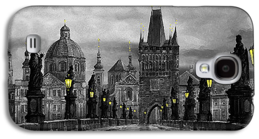 Prague Galaxy S4 Case featuring the painting Bw Prague Charles Bridge 04 by Yuriy Shevchuk