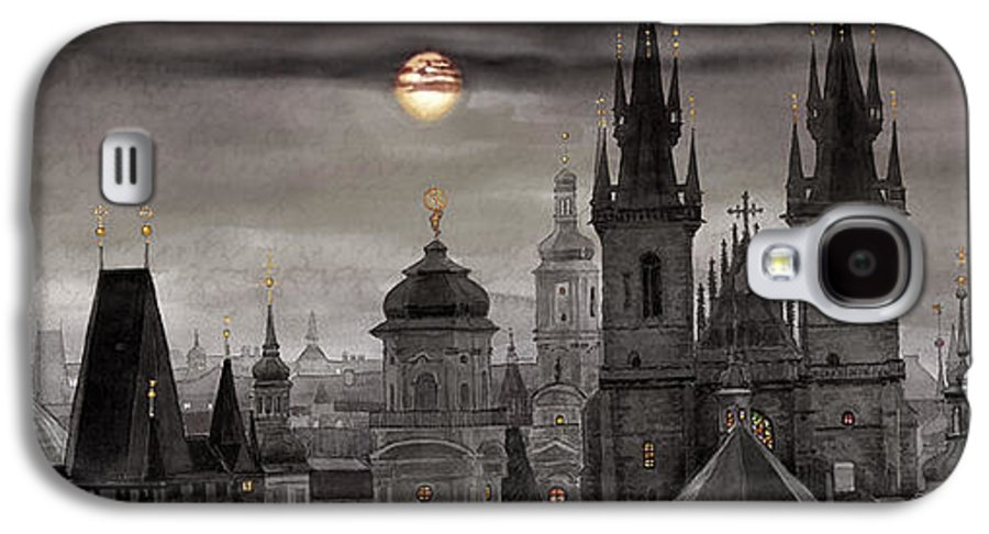 Cityscape Galaxy S4 Case featuring the painting Bw Prague City Of Hundres Spiers by Yuriy Shevchuk