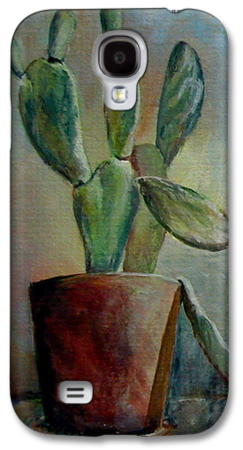 Flower Galaxy S4 Case featuring the painting Cactus 1 by Muriel Dolemieux