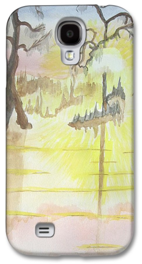 Landscape Watercolor Galaxy S4 Case featuring the painting Cajun Sunrise by Warren Thompson