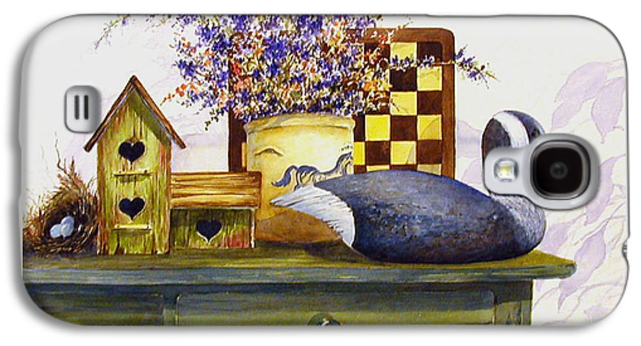 Canada Goose;birdhouse;bird Nest;crock;checkerboard;still Life;country Still Life; Galaxy S4 Case featuring the painting Canada And Checkerboard by Lois Mountz