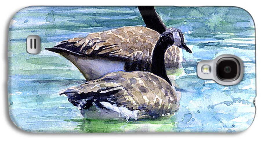 Canada Galaxy S4 Case featuring the painting Canada Geese by John D Benson