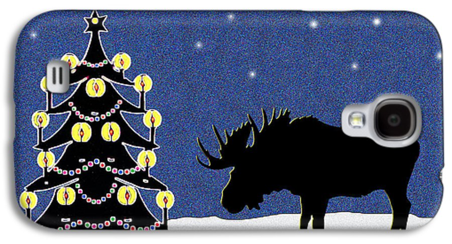 Moose Galaxy S4 Case featuring the digital art Candlelit Christmas Tree And Moose In The Snow by Nancy Mueller