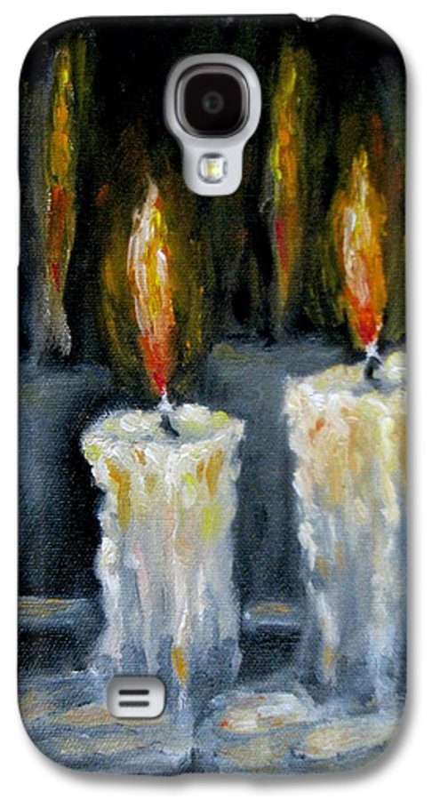 Candles Galaxy S4 Case featuring the painting Candles Oil Painting by Natalja Picugina