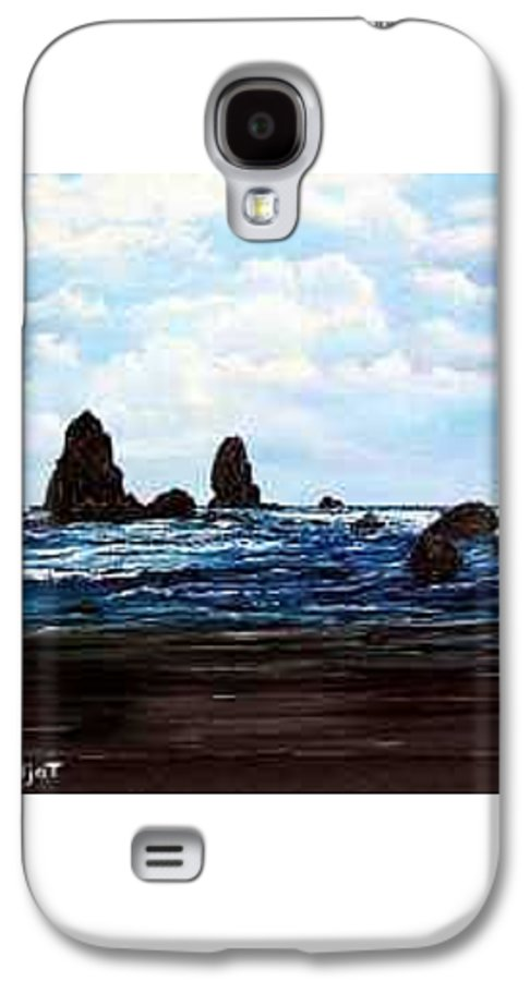 This Is Cannon Beach Oregon. This Painting Is Framed In A Lovely Gold Tone Frame. Galaxy S4 Case featuring the painting Cannon Beach by Darla Boljat