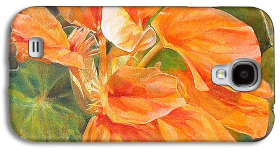 Floral Painting Galaxy S4 Case featuring the painting Capucine by Muriel Dolemieux