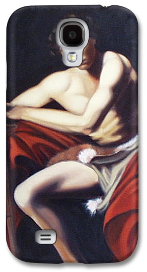 Caravaggio Galaxy S4 Case featuring the painting Caravaggio's John The Baptist Study by Toni Berry