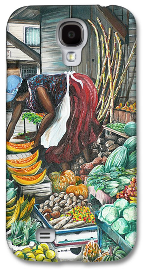 Caribbean Painting Market Vendor Painting Caribbean Market Painting Fruit Painting Vegetable Painting Woman Painting Tropical Painting City Scape Trinidad And Tobago Painting Typical Roadside Market Vendor In Trinidad Galaxy S4 Case featuring the painting Caribbean Market Day by Karin Dawn Kelshall- Best