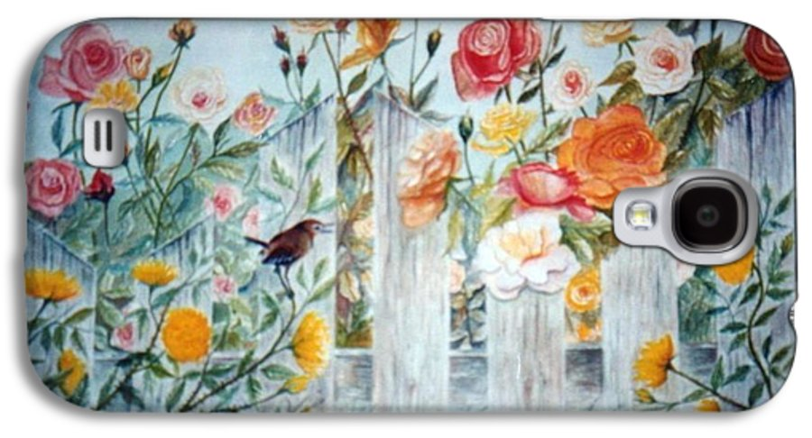 Roses; Flowers; Sc Wren Galaxy S4 Case featuring the painting Carolina Wren And Roses by Ben Kiger