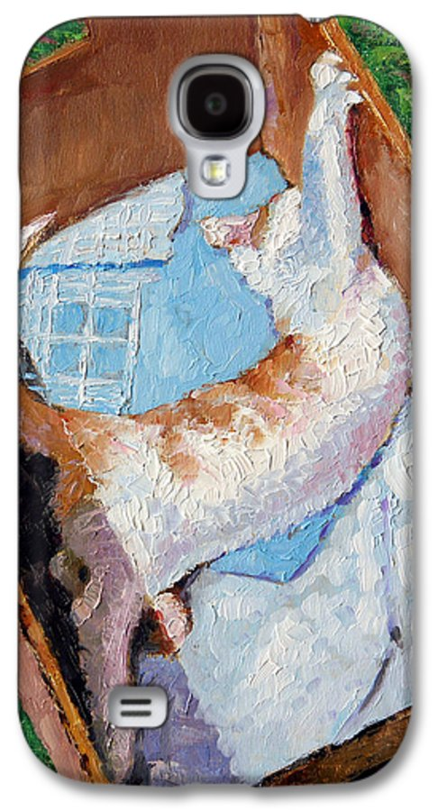 Kitten Galaxy S4 Case featuring the painting Cat In A Box by John Lautermilch