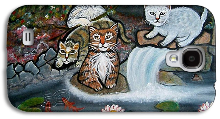 Acrylic Art Landscape Cats Animals Figurative Waterfall Fish Trees Galaxy S4 Case featuring the painting Cats In The Wild by Manjiri Kanvinde