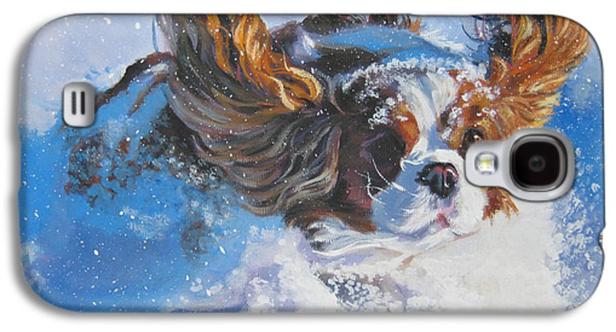 Dog Galaxy S4 Case featuring the painting Cavalier King Charles Spaniel Blenheim In Snow by Lee Ann Shepard