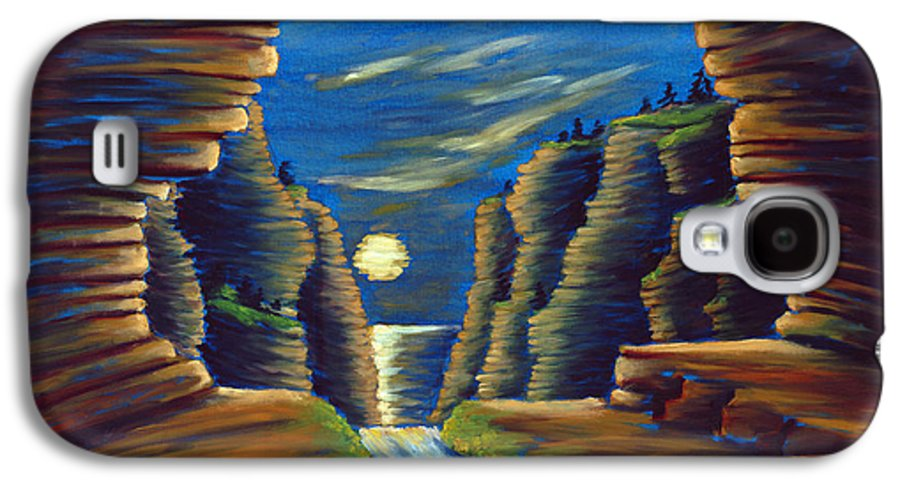 Cave Galaxy S4 Case featuring the painting Cave With Cliffs by Jennifer McDuffie