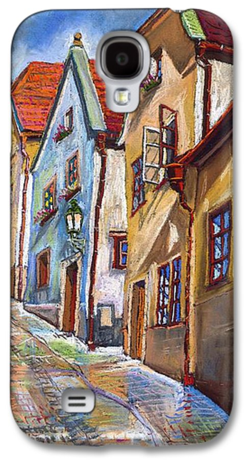 Pastel Chesky Krumlov Old Street Architectur Galaxy S4 Case featuring the painting Cesky Krumlov Old Street 2 by Yuriy Shevchuk