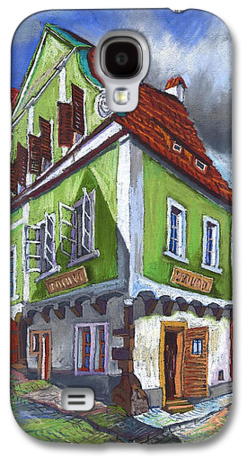 Pastel Chesky Krumlov Old Street Cityscape Realism Architectur Galaxy S4 Case featuring the painting Cesky Krumlov Old Street 3 by Yuriy Shevchuk