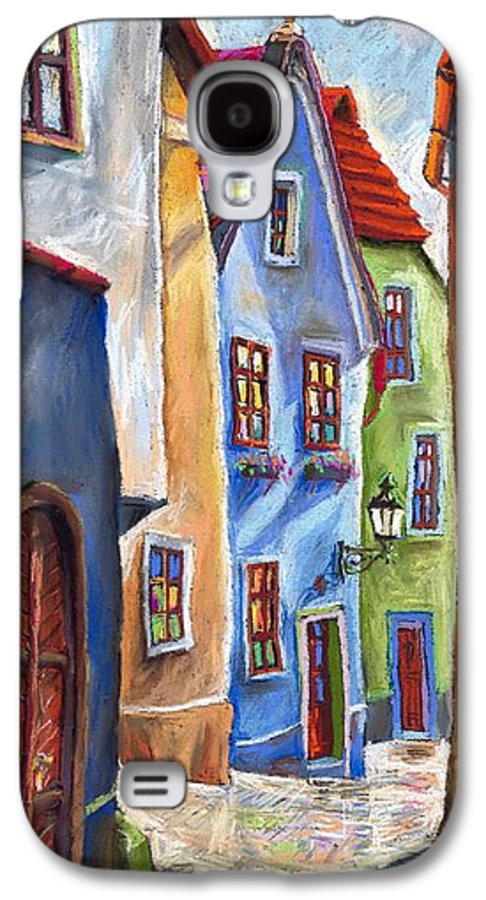 Cityscape Galaxy S4 Case featuring the painting Cesky Krumlov Old Street by Yuriy Shevchuk