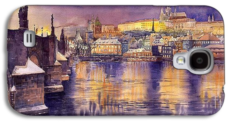 Cityscape Galaxy S4 Case featuring the painting Charles Bridge And Prague Castle With The Vltava River by Yuriy Shevchuk