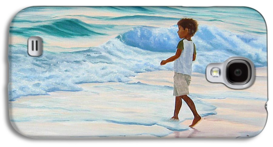 Child Galaxy S4 Case featuring the painting Chasing The Waves by Lea Novak