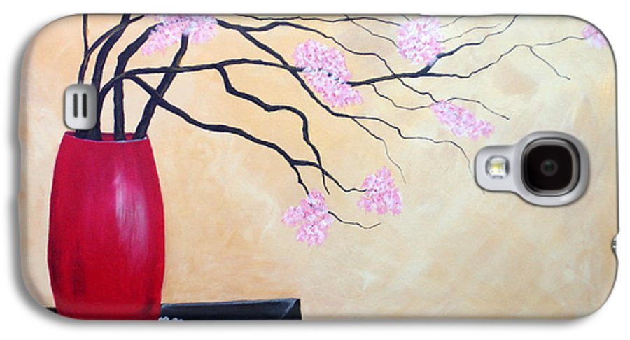 Oriental Galaxy S4 Case featuring the painting Cherry Blossoms by Susan Kubes