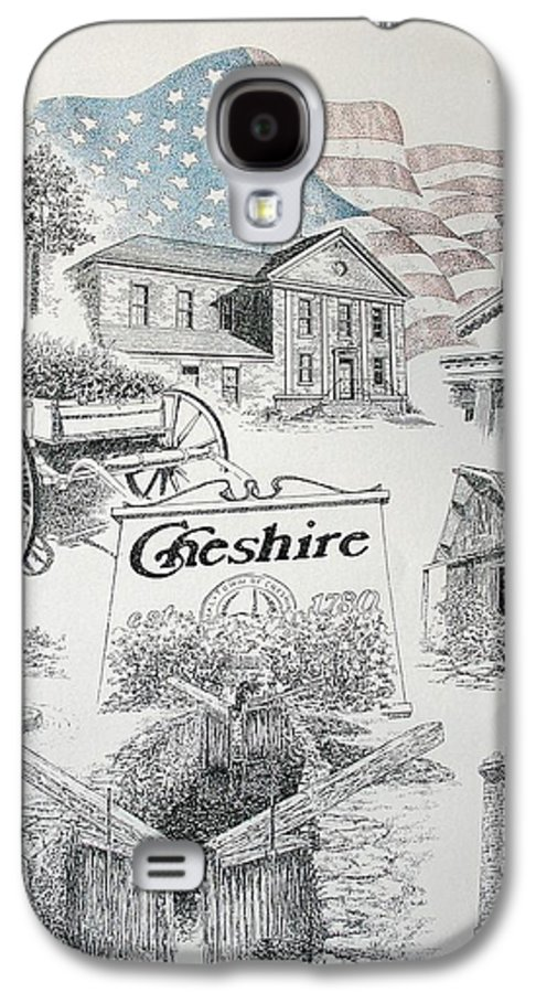 Connecticut Cheshire Ct Historical Poster Architecture Buildings New England Galaxy S4 Case featuring the drawing Cheshire Historical by Tony Ruggiero