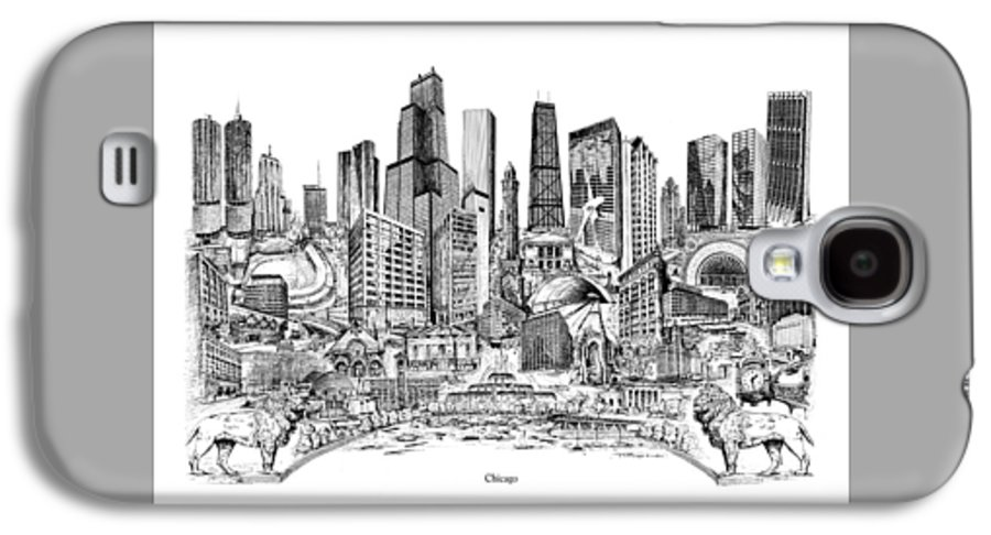 City Drawing Galaxy S4 Case featuring the drawing Chicago by Dennis Bivens