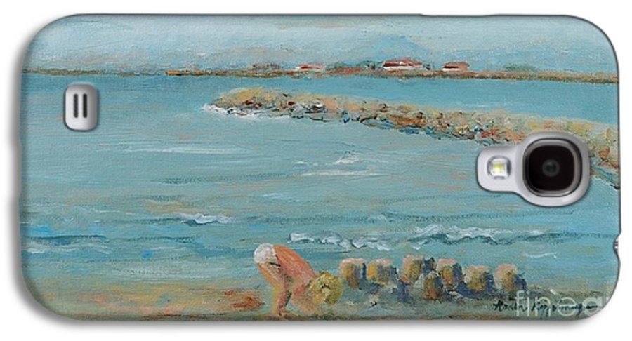 Beach Galaxy S4 Case featuring the painting Child Playing At Provence Beach by Nadine Rippelmeyer