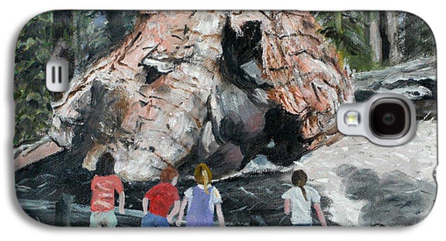 Children Galaxy S4 Case featuring the painting Children At Sequoia National Park by Quwatha Valentine