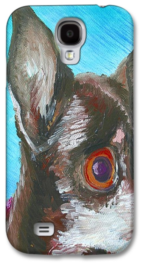 Dog Galaxy S4 Case featuring the painting Chili Chihuahua by Minaz Jantz