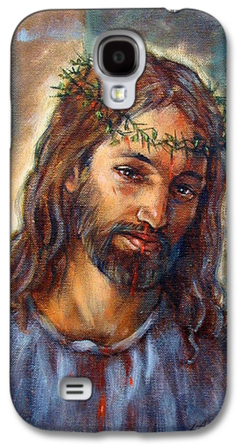 Christ Galaxy S4 Case featuring the painting Christ With Thorns by John Lautermilch