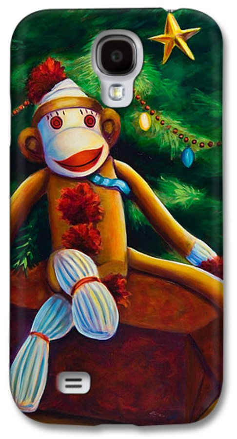 Sock Monkey Galaxy S4 Case featuring the painting Christmas Made Of Sockies by Shannon Grissom