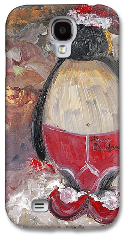 Penguin Galaxy S4 Case featuring the painting Christmas Penguin by Nadine Rippelmeyer